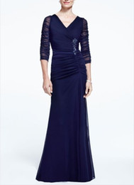 Sexy Chiffon Illusion 3 4 Long Sleeve Ruched Dress with Side Embellishment V-Black Mother Of The Bride Evening Dresses Formal Gown