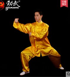 NEW MEN shadowboxing martial arts clothing DRESS silk cotton suits yellow