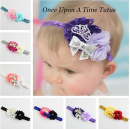 Baby Headbands Shabby chic flower crown Bow headbands 9 colors U pick girls headbands 10pcs free shipping