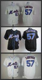 Wholesale 2015 New Mens authentic New York Mets Johan Santana Pin Stripe White Black ny Mets vintage Baseball Jerseys shirt Cheap Size S XL