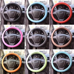 New Silicone Steering Cover Wheel Texture Cover High Quality Fashion Leather Texture Car Auto Glove 9 Colors