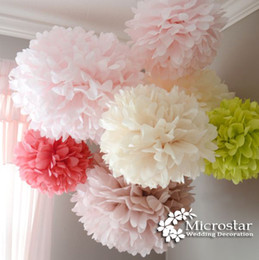Wholesale-Pom Pom 1pcs 14 inch 35cm Tissue Paper Pom Poms Artificial Flower Balls Wedding Decoration Paper Balls Party Deco