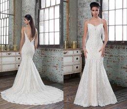 Wholesale backless mermaid wedding dresses spaghetti straps beaded lace Justin alexander vestido de noiva buttons court train bridal gowns