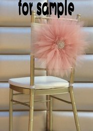 Wholesale Sample Of Wedding Chair Covers D Tulle Flower Chair Sashes Beautiful Wedding Accessories Fastion Pink Chair Decorations