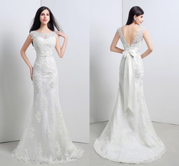 In Stock Cheap 2015 Wedding Dresses White Ivory Crew Open Back Cap Sleeves Lace Appliques Bridal Gowns with Bow Beaded Sash Sweep Train