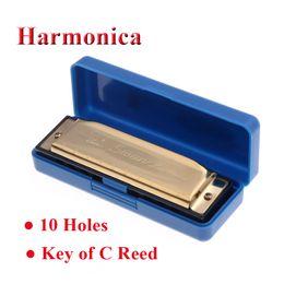 Hot Sale Swan Key 10 trous Diatonic de C Reed Melodica acier inoxydable harmonica blues Instrument de musique avec étui Silve or à partir de harmonica diatonique c cygne fournisseurs