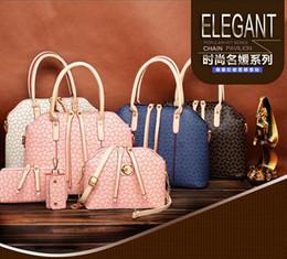 Wholesale 4pcs set New Fashion Women s Handbag Bag Purses PU Leather Shoulder Bags Girls Cheap Four piece Messenger Totes ags