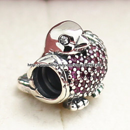 2015 Autumn New 925 Sterling Silver Anima Robin Charm Bead with Red Cz Fit European Pandora Style Jewelry Bracelets Necklaces & Pendant