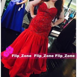 Classic Red Satin 2016 Beaded Mermaid Prom Dresses with Sweetheart Sequins Floor Length 2015 Plus Size Trumpet Evening Party Formal Gowns