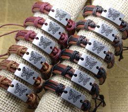 Fashion Handmade butterfly bracelets adjustable Leather bracelets Bangles mens bracelets women jewelry