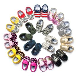 Wholesale 68 Style For Choose freshly picked Baby Soft PU Leather Tassel Moccasins walker shoes baby Toddler Solid Colour Tassel Shoes Moccasin E082
