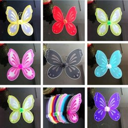 Wholesale 2015 retail fashion Cute quot x19 quot Kids Baby Fairy Wings Butterfly dress up Tinker Bell Halloween Costume
