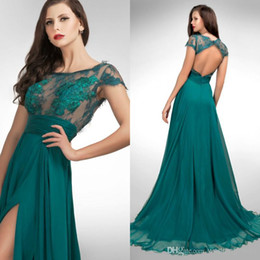 Sexy High Split Evening Dresses 2016 Sheer Jewel Cap Sleeve Teal Lace ...