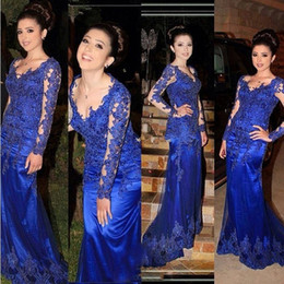 Royal Blue Long Sleeve Prom Dresses Sheer V neck A Line Zipper Applqiue Lace Formal Party Evening Gowns 2016 Robe de Soiree