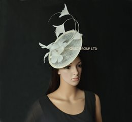 New Arrival. Cream ivory Feather Fascinator sinamay hat with feather flower and long ostrich spine for Melbourne cup,Wedding.Kentucky derby.