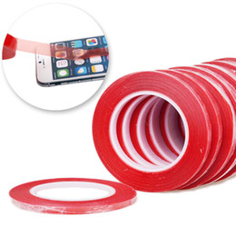 Wholesale-100pcs lot High Strength 1mm*50m Acrylic Gel Adhesive Red Adhesive Tape Sticker Double Sided Tape For Phone LCD Screen