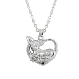 rhodium plated Chihuahua dog on heart lovely necklace hot selling