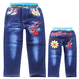Wholesale Spiderman Embroidered - 6 Styles Spring Autumn Childrens Pants Boys Spiderman Embroidered Jeans Trousers Kids Leisure Trousers Turtles Jeans