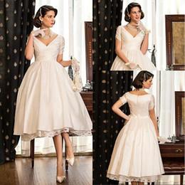 A-line Princess V-neck Tea-length Taffeta Wedding Dress Short Sleeve Short Beach Style Bridal Wedding Gowns