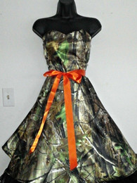 Camo Dresses Sweetheart Bridesmaid Dresses 2015 with Orange Sash Knee Length Formal Prom Dresses A Line Camouflage Homecoming Party Gowns