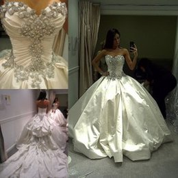 Wholesale Cathedral Train Ball Wedding - Luxury Wedding Dresses 2015 Cathedral Wedding Gowns with Rhinestones Sweetheart Royal Princess Ball Gowns with Crystals