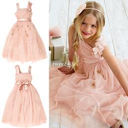 2020 Cute Flower Girl Dresses Princess Hand Made Flower Beaded Tulle Sash Spaghetti Tea Length Kids Little Girls Dresses for Weddings