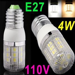 New 110V E27 4W 27 SMD5050 LED Corn Light White Warm white LED Bulb Lamp with Cover