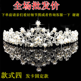 Wholesale 2016 new bride tiara crown pearl wedding jewelry hair combs diamond wedding dress wedding accessories crown package mail