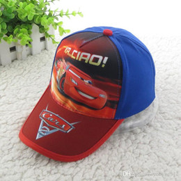 new boy baseball hat cars children baseball hat beach boy red blue hat boy cartoon cotton cap C0111-1