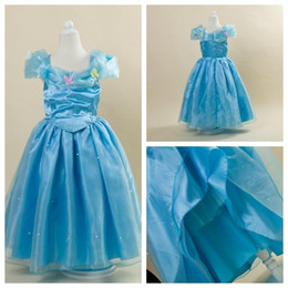2015 Cinderella Kids Girls Butterfly Beaded Princess Dress Blue Party Dresses Lace Dresses Cosplay Costume Children Clothing free shipping