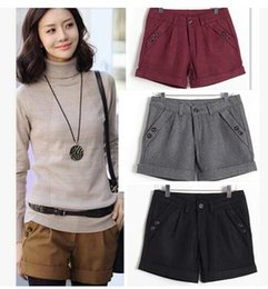 Wholesale multi colors plus size wool blend women shorts winter autmn regular basic size S to XL