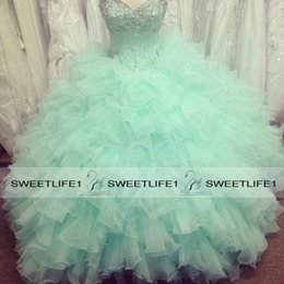 2019 Customized Cheap Light Green Quinceanera Dresses Ball Gown Real Image Sweetheart Beaded Crystals Organza Prom Gowns Floor Length