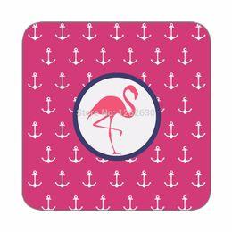 Wholesale Anchor Beauty Flamingo Pink Pattern Print Custom Mat Drink Tea Cup Cork Coasters Pack of