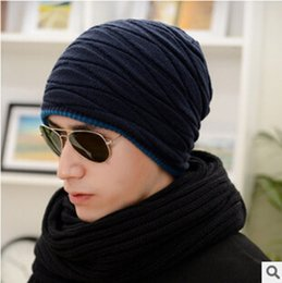 Wholesale-New beanie men's winter hat knitted hat Korean male male winter tide hat Double thick wool hat boys free shipping