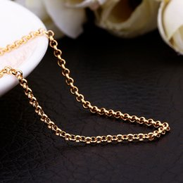 fashion necklaces 1.5MM 18k yellow gold necklace round box chain necklace pendant necklace free shipping