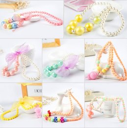 Wholesale Baby Kids Girls Pearl Necklace Jewelry New Multicolor Lace Bow Flowear Bead Necklace Accessories ZZ