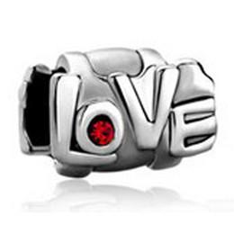 10 pcs per lot Valentine's Day Red Crystal Heart Love Charm European bead Fit Pandora Chamilia Biagi Bracelet