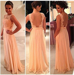 2016 Charming Peach Pink Lace Chiffon Long Bridesmaid Dresses A Line Cheap Plus Size Bridesmaid Dress For Wedding Party Dresses
