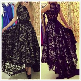 Black Lace High Low Evening Dresses Sleeveless Maxi Dresses Sheer Back Crew Arabic Pageant Dresses Prom Gown vestido verao 2016