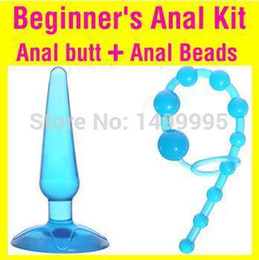 2pcs lot Beginner's Anal Kit, Flexible Jelly Butt Plug and Anal Beads, Best Anal Sex toys for men and women, Anal Sex Toys