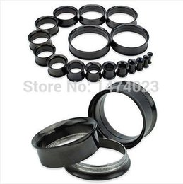 Wholesale Stainless Steel L Double Flared black color Ear Stretcher Flesh Tunnel Plugs Expander mix order
