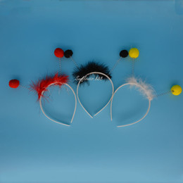 Wholesale 3 colors Child Ant Bug Ladybird Ladybug Alien Antenna Ball Head Headband One Size