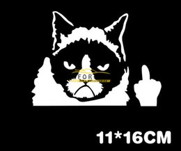 Wholesale 200PCS Black White Color Car Sticker Whimsy Bad Cat Reflective Funny Cars Motorcycles Stickers Decal Styling Accessories Decoration