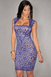 Sexy Elegant Royal-Blue Lace Nude Illusion Vintage Bodycon Dress LC21036 roupas femininas vestidos de festa dress to party