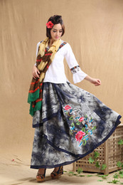 ethnic ink painting embroidery long-length skirt longuette