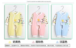 Wholesale 2015 New Arrival Pure Cotton Clothing For Infants And Young Children Long Sleeve Cartoon Baby Climb Clothes Open Files Jumpsuits mz42
