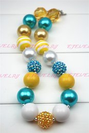 Chunky Gumball Necklace-Yellow, Aqua & White- Large acrylic beads Girl Necklace for Kids CB123
