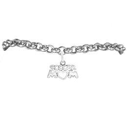 Wholesale Alloy Soccer Mom Charm Rolo Chain Bracelet 100pcs A lot Link Chain Antique Silver Plated