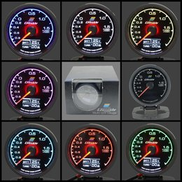 Wholesale Greddy Gauge Turbo Boost Gauge Light Colors LCD Display With Voltage Meter Car Gauge mm Inch With Sensor Racing Gauge