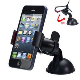 Wholesale Universal Windshield Car Cell Phone Mount Bracket Holder Cupule Black for iPhone S C Sumsang Smart Phone PDS GPS Camera Recoder